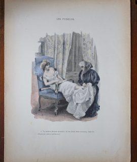 Antique Print, Les Pudeurs, by Ferdinand Bac, 1890