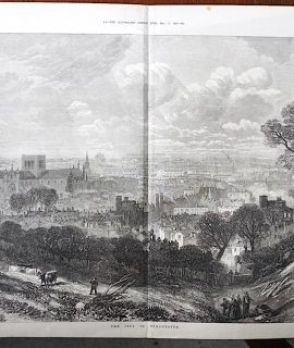 Antique Print, The City of Winchester, 1873