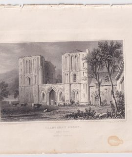 Antique Engraving Print, Llanthony Abbey, 1830