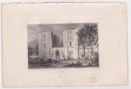 Antique Engraving Print, Llanthony Abbey, 1830
