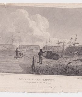 Antique Engraving Print, London Docks, Wapping, 1805