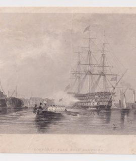 Antique Engraving Print, Gosport, Flag Ship Saluting, 1842