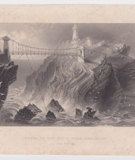 Antique Engraving Print, Bridge to the South Stack Lighthouse, 1842