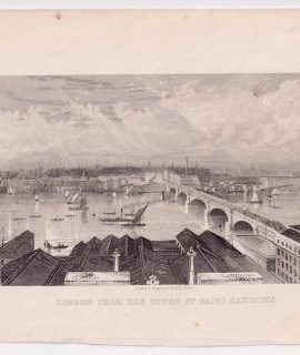 Antique Engraving Print, London from the Tower of Saint Saviour's, 1850