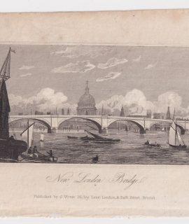 Antique Engraving Print, New London Bridge, 1830 ca.