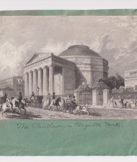 Antique Engraving Print, The Pantheon, Regent's Park, 1830 ca.