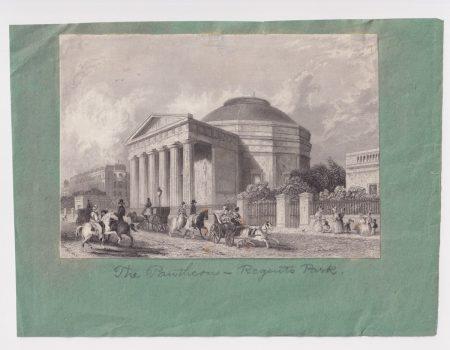 Antique Engraving Print, The Pantheon, Regent's Park, 1830 ca.