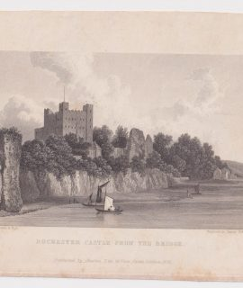 Antique Engraving Print, Rochester Castle from the Bridge, 1829