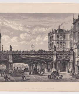 Antique Print, The Holborn Viaduct, 1878