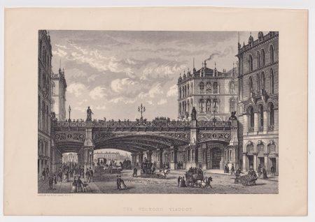 Antique Print, The Holborn Viaduct, 1878
