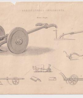 Antique Print, Agricultural Implements, Roman Ploughs, 1880