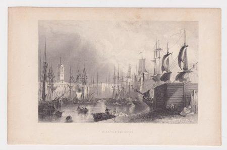 Antique Engraving Print, St. Katherine Docks, 1830 ca.