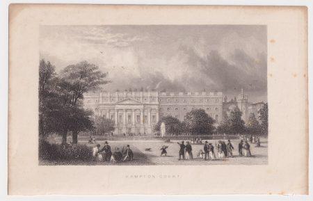 Antique Engraving Print, Hampton Court, 1830