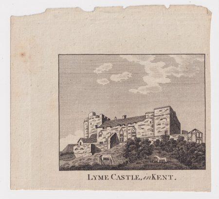 Antique Engraving Print, Lyme Castle, in Kent, 1790