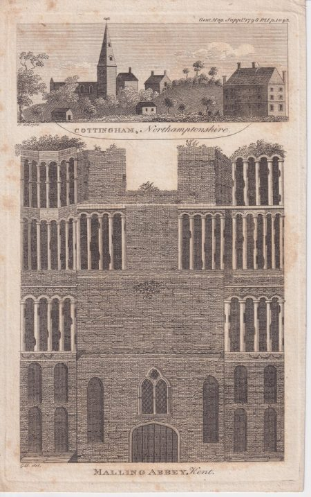 Antique Engraving Print, Malling Abbey, Kent, 1789