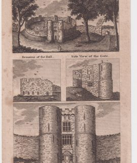 Antique Engraving Print, Saltwood Castle, 1802