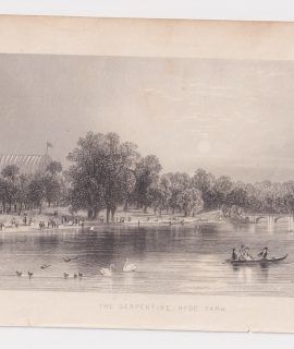 Antique Engraving Print, The Serpentine Hyde Park, 1830 ca.
