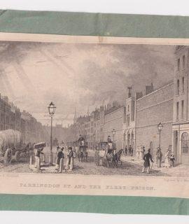 Antique Engraving Print, Farringdon St. And the Fleet Prison, 1830