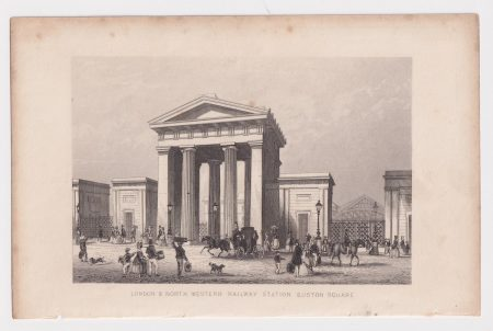 Antique Engraving Print, London & North Wester Railway Station Euston Square, 1840 ca.