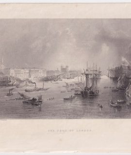 Antique Engraving Print, The Port of London, 1842