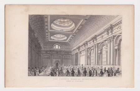 Antique Engraving Print, The Private Banking Department, 1830