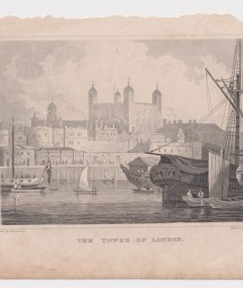 Antique Engraving Print, The Tower of London, 1840 ca.