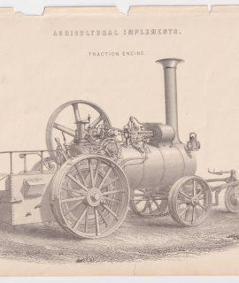 Antique Print, Traction Engine, 1880