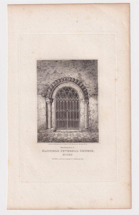 Antique Engraving Print, Hatfield Peverell Church, Essex, 1818