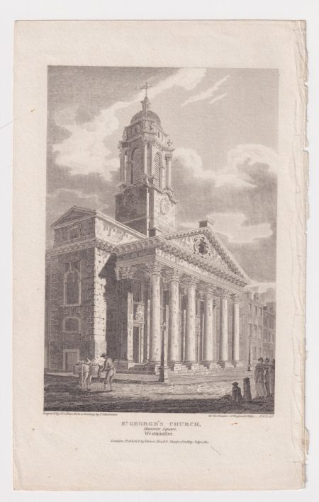 Antique Engraving Print, St. George's Church, Westminster, 1810