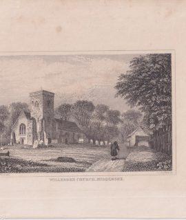 Antique Engraving Print, Willesden Church, Middlesex, 1828