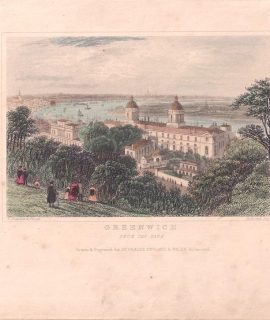 Antique Engraving Print, Greenwich from the Park, Dugdales, 1840