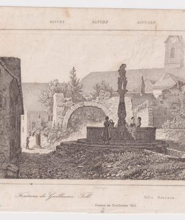 Rare Antique Engraving Print, Fuente de Guillermo Tell, 1790