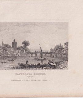 Antique Engraving Print, Battersea Bridge, 1850