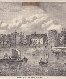 Antique Print, Lambeth Palace from the River, 1880