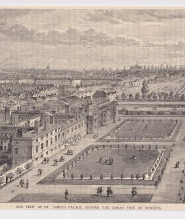 Antique Print, Old View of St. James's Palace... 1880