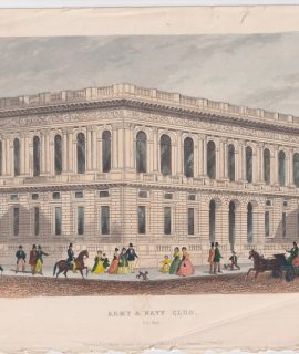 Antique Engraving Print, Army & Navy Club, Pall Mall, 1851