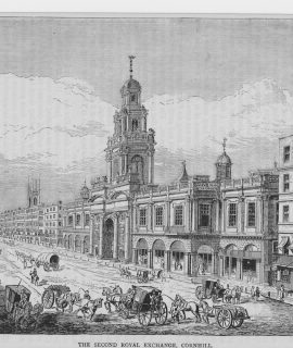 Antique Print, The Second Royal Exchange, Cornhill, 1880