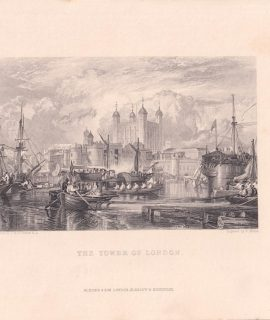 Antique Engraving Print, The Tower of London, 1840