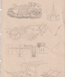 Antique Print, Agricultural Implements, 1880 ca.