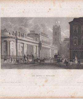 Antique Engraving Print, Die Bank von England, 1836