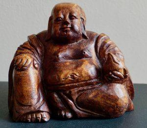 Antique Buddha Wood Carving whit Lotus Flower