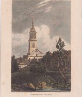 Antique Engraving Print, Shoreditch Church, 1816