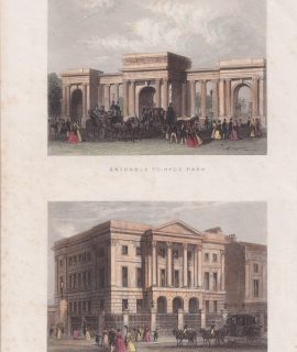 Antique Engraving Print, Entrance to Hyde Park; Apsley House, 1850
