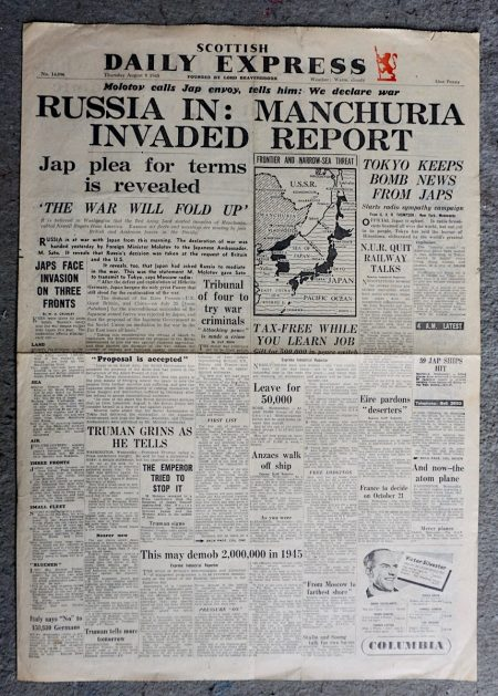 Scottish Daily Express: Russia in: Manchuria Invaded Report, August 9 1945