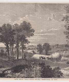 "Antique Engraving Print, View From ""Moll King's House"", Hampstead, 1880"