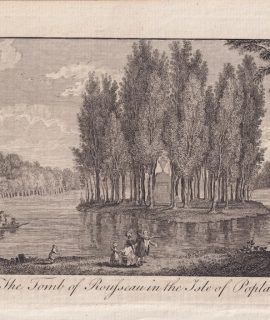 Antique Engraving Print, The Tomb of Rousseau in the Isle of Poplars, 1782