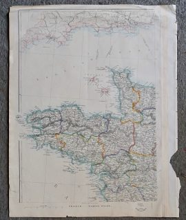 Rare Antique Map, France, North West, 1850 ca.