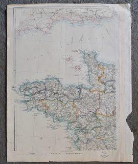 Rare Antique Map, France, North West, 1850 ca.