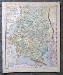 Letts's Popular Atlas, Statistical Map of Russia in Europe, 1883