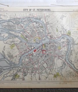 Lot of 2 Antique Maps, Russia (Poland); City of St. Petersburg, 1880